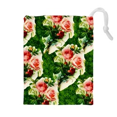 Floral Collage Drawstring Pouches (Extra Large)