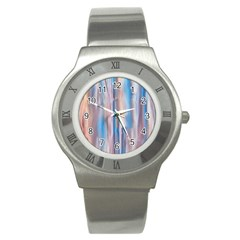Vertical Abstract Contemporary Stainless Steel Watch