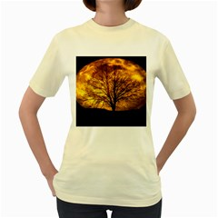 Moon Tree Kahl Silhouette Women s Yellow T-Shirt