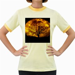 Moon Tree Kahl Silhouette Women s Fitted Ringer T-Shirts