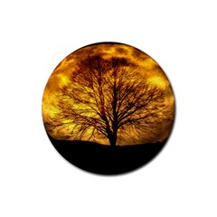 Moon Tree Kahl Silhouette Rubber Coaster (Round)