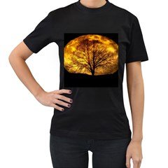 Moon Tree Kahl Silhouette Women s T-Shirt (Black) (Two Sided)