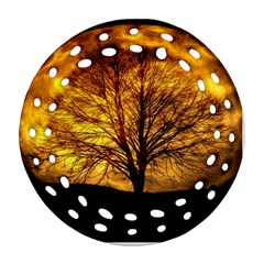 Moon Tree Kahl Silhouette Round Filigree Ornament (Two Sides)