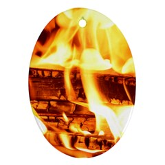 Fire Flame Wood Fire Brand Ornament (Oval)
