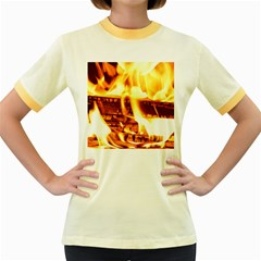 Fire Flame Wood Fire Brand Women s Fitted Ringer T-Shirts
