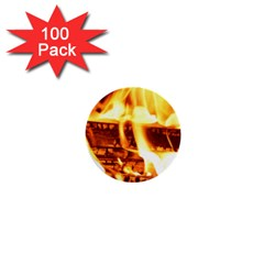 Fire Flame Wood Fire Brand 1  Mini Buttons (100 pack)