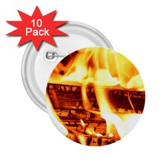 Fire Flame Wood Fire Brand 2.25  Buttons (10 pack)