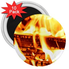 Fire Flame Wood Fire Brand 3  Magnets (10 pack)