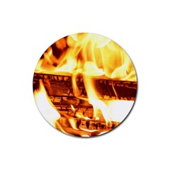 Fire Flame Wood Fire Brand Rubber Round Coaster (4 pack)