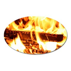 Fire Flame Wood Fire Brand Oval Magnet