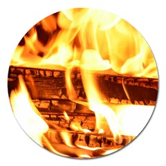 Fire Flame Wood Fire Brand Magnet 5  (Round)