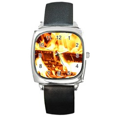 Fire Flame Wood Fire Brand Square Metal Watch