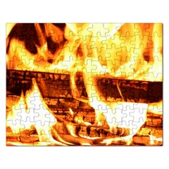 Fire Flame Wood Fire Brand Rectangular Jigsaw Puzzl