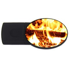 Fire Flame Wood Fire Brand Usb Flash Drive Oval (4 Gb)