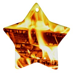 Fire Flame Wood Fire Brand Star Ornament (Two Sides)