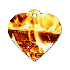 Fire Flame Wood Fire Brand Dog Tag Heart (Two Sides)