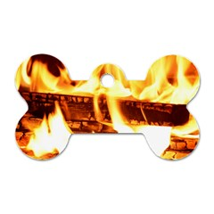 Fire Flame Wood Fire Brand Dog Tag Bone (Two Sides)