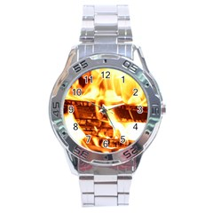 Fire Flame Wood Fire Brand Stainless Steel Analogue Watch