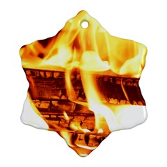 Fire Flame Wood Fire Brand Snowflake Ornament (Two Sides)