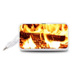 Fire Flame Wood Fire Brand Portable Speaker (White)