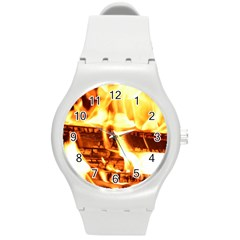 Fire Flame Wood Fire Brand Round Plastic Sport Watch (M)