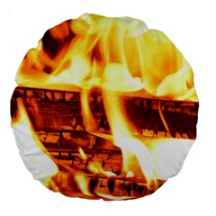 Fire Flame Wood Fire Brand Large 18  Premium Round Cushions