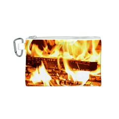 Fire Flame Wood Fire Brand Canvas Cosmetic Bag (S)