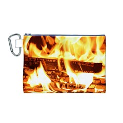 Fire Flame Wood Fire Brand Canvas Cosmetic Bag (M)
