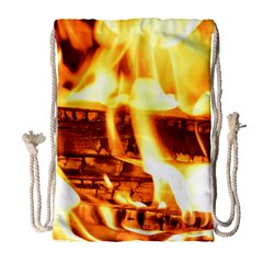 Fire Flame Wood Fire Brand Drawstring Bag (Large)