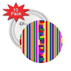 Rainbow Geometric Design Spectrum 2.25  Buttons (10 pack)