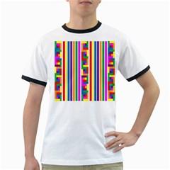 Rainbow Geometric Design Spectrum Ringer T-Shirts