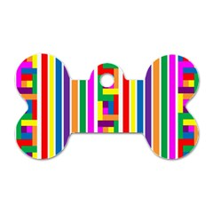 Rainbow Geometric Design Spectrum Dog Tag Bone (Two Sides)