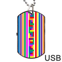 Rainbow Geometric Design Spectrum Dog Tag USB Flash (Two Sides)