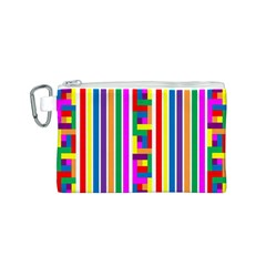 Rainbow Geometric Design Spectrum Canvas Cosmetic Bag (S)
