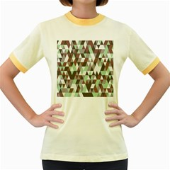 Pattern Triangles Random Seamless Women s Fitted Ringer T-Shirts
