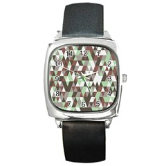 Pattern Triangles Random Seamless Square Metal Watch