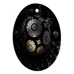 Fractal Sphere Steel 3d Structures Ornament (Oval)