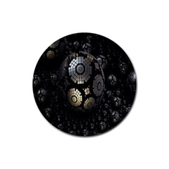 Fractal Sphere Steel 3d Structures Rubber Coaster (Round)