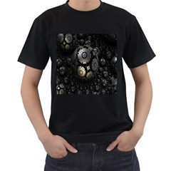 Fractal Sphere Steel 3d Structures Men s T-Shirt (Black) (Two Sided)