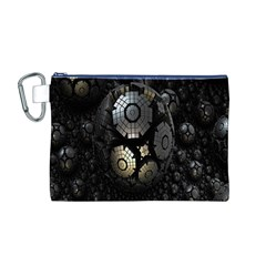 Fractal Sphere Steel 3d Structures Canvas Cosmetic Bag (M)