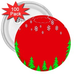 Merry Christmas 3  Buttons (100 pack)