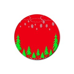 Merry Christmas Rubber Coaster (Round)