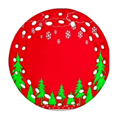 Merry Christmas Round Filigree Ornament (Two Sides)