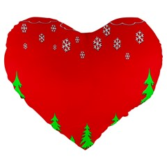 Merry Christmas Large 19  Premium Heart Shape Cushions