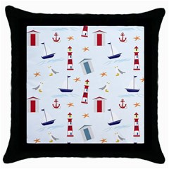 Seaside Beach Summer Wallpaper Throw Pillow Case (Black)