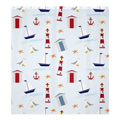 Seaside Beach Summer Wallpaper Shower Curtain 66  x 72  (Large)