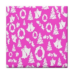 Pink Christmas Background Tile Coasters