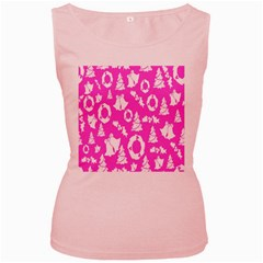 Pink Christmas Background Women s Pink Tank Top