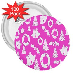 Pink Christmas Background 3  Buttons (100 pack)