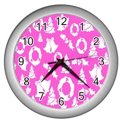 Pink Christmas Background Wall Clocks (Silver)